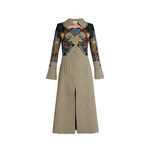 Medium mary k oliver cowboy applique  hound s tooth coat
