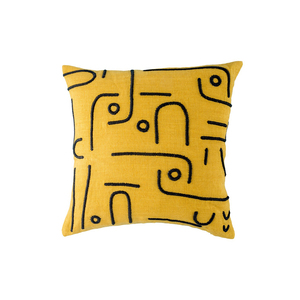Medium the conran shop curved dash cushion cover ochre   black