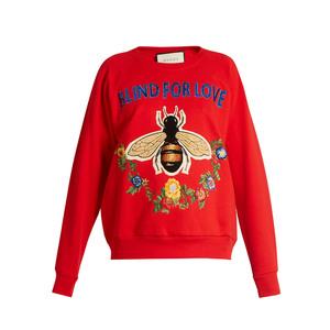 Medium gucci bee and floral applique  cotton sweatshirt