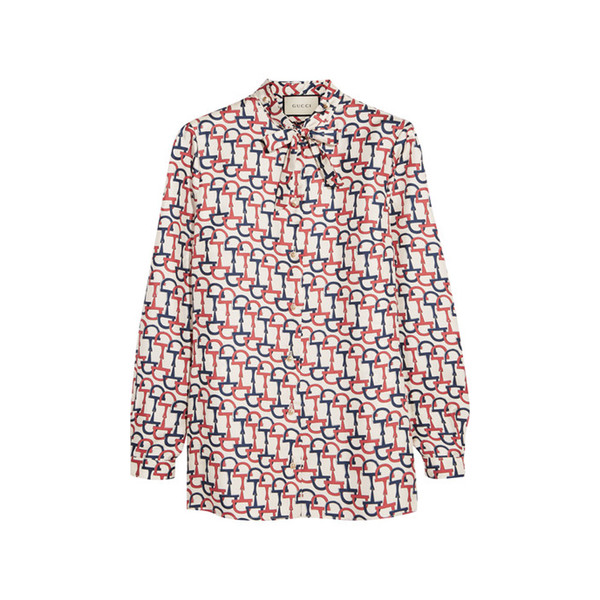 Large gucci pussy bow printed silk twill blouse