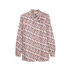 Medium gucci pussy bow printed silk twill blouse