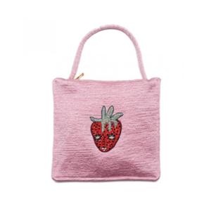 Medium shrimps adela bag pink embroidered mini handbag