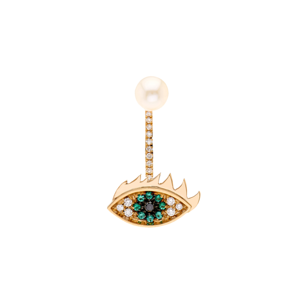Large delfina diamond  emerald  pearl   gold earring