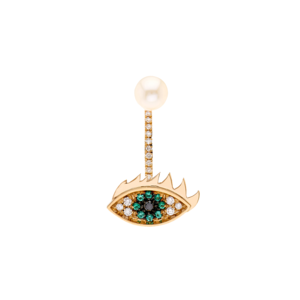 Medium delfina diamond  emerald  pearl   gold earring