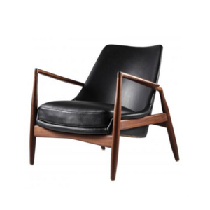 Medium black leather seal chair by ib kofod larsen for ope mo bler