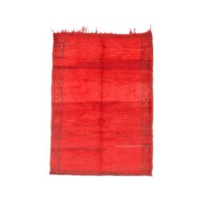Medium pamono red moroccan beni ourain rug  1970s