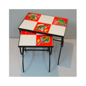 Medium french tiled nesting tables  1950s  set of 2
