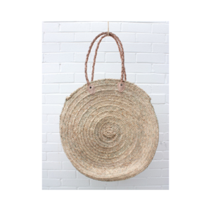 Medium trouva handmade moroccan round straw bag with leather straps