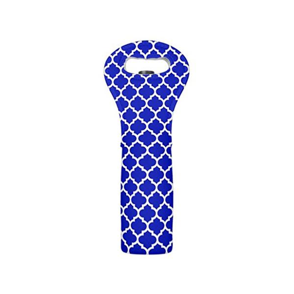 Large modern wine tote bag royal blue white moroccan quatrefoil pattern wine carrier tote bottle insulatedneoprene wine tote2 bottle holder fortravel