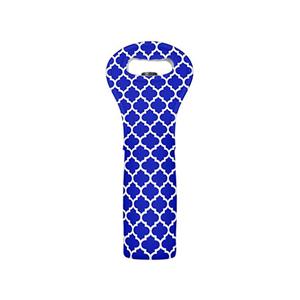 Medium modern wine tote bag royal blue white moroccan quatrefoil pattern wine carrier tote bottle insulatedneoprene wine tote2 bottle holder fortravel