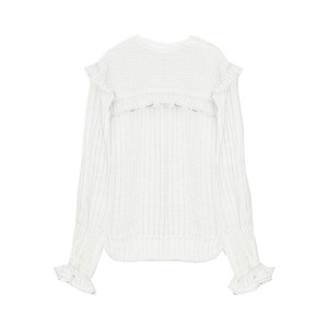 Medium chloe striped blouse in ramie voile with ruffle detail