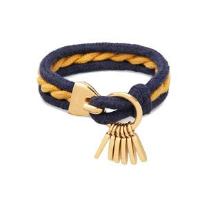 Medium chloe marin bordeaux   navy cotton rope   brass stackable bracelet