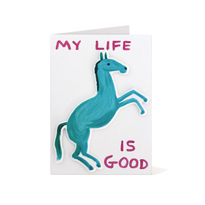 Medium my life is good puffy sticker card x david shrigley