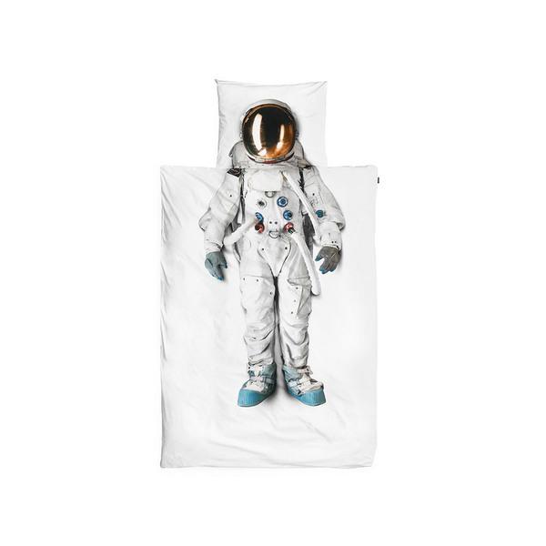 Large astronaut flannel single duvet set