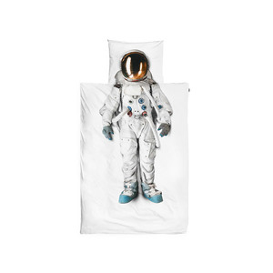 Medium astronaut flannel single duvet set