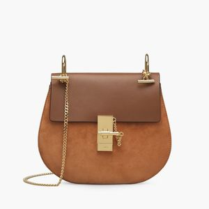 Medium drew shoulder bag in suede calfskin and smooth calfskin