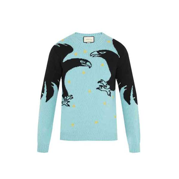 08ca0ddd6 GUCCI - Eagle-intarsia embroidered wool sweater - Semaine