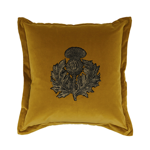 Medium timorous beasties thistle velvet cushion
