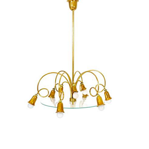 Medium italian brass and glass chandelier  1950s