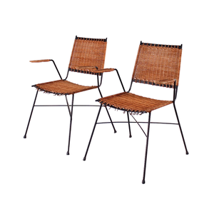 Medium italian modern stackable wicker chair with armrests  1960s