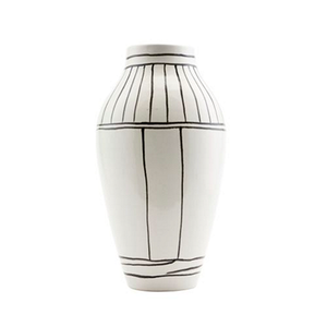Medium trouva house doctor  outline  white vase with black line detail