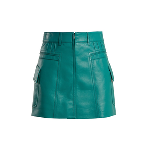 Medium prada pintucked grained leather mini skirt